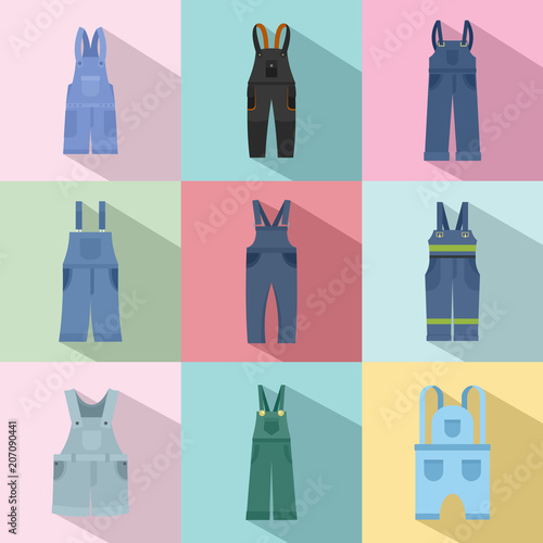 22a4c0656283 Overalls workwear icons set. Flat illustration of 9 overalls workwear vector  icons for web