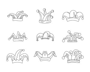 Jester fools hat icons set. Outline illustration of 9 Jester fools hat vector icons for web