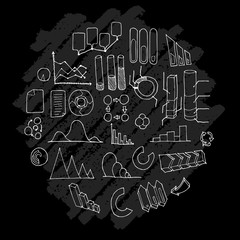 Data doodle illustration circle form wallpaper background line sketch style set on chalkboard eps10