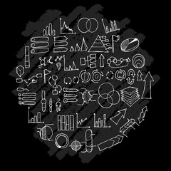 Data doodle illustration circle form wallpaper background line sketch style set on chalkboard eps10