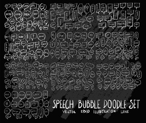 Hand drawn Sketch doodle vector bubble element icon set on Chalkboard eps10