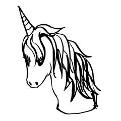 Hand drawn Sketch doodle vector line unicorn eps10