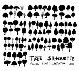 Hand drawn vector illustration tree silhouette drawing set eps10