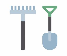 Shovel and rake icon. flat style. isolated on white background