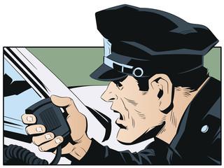 Police officer talking on radio. Stock illustration.
