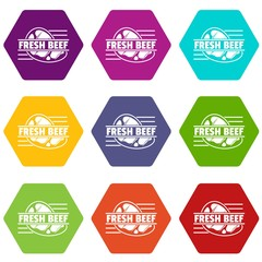 Fresh beef icons 9 set coloful isolated on white for web