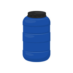 Blue storage barrel with black lid. Plastic container for water. Flat vector design for advertising poster or flyer