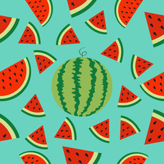 Watermelon whole ripe slice icon half cut with seed Triangle fruit cut. Hello Summer Seamless Pattern Green background. Flat design.