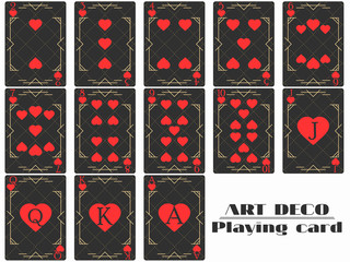Playing cards heart suit. Poker cards original design art deco style. Vector illustration