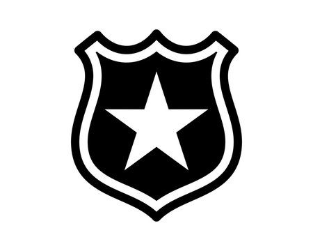 black shield star badge law sheriff deputy image vector icon logo