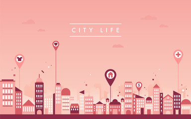 City Buildings Skyline vector flat graphic design illustration set
