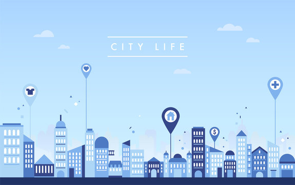 City Buildings Skyline vector flat graphic design illustration set