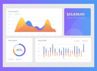 Infographic dashboard template with flat design graphs and charts. Information Graphics elements.