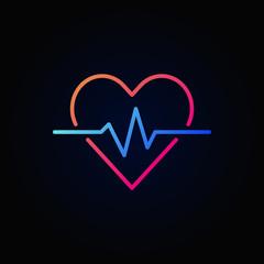 Heart cardiogram colored icon - vector heartbeat concept sign