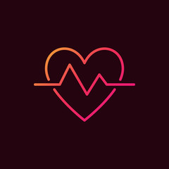 Heartbeat linear colored icon. Vector heart beat pulse symbol