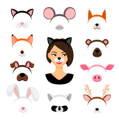 Girls animals masks set
