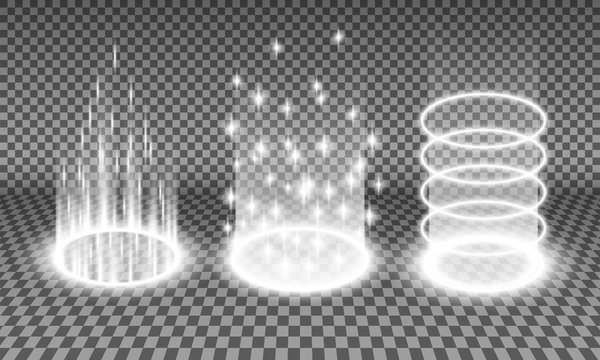 Teleport light effects vector illustration, various sci-fi or magical portals isolated on a transparency background, teleportation procedure glow effect, futuristic holographic design element set
