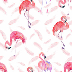 Tuinposter Flamingo Watercolor seamless tropical trendy pattern with flamingos and feathers. Summer background.