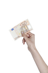 Female hand holding a fifty euro note on isolated background