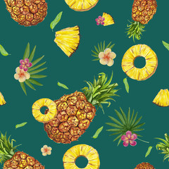 Watercolor seamless pattern with pineapples.