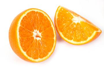 fresh orange fruit on white background isolate.