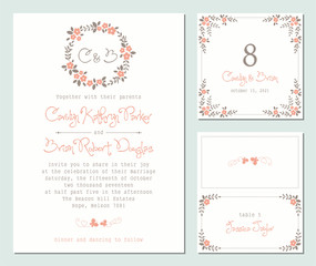 Invitation and universal card design set with floral wreath. Wedding templates.