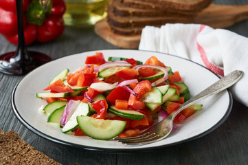 Vegetable salad with bell peppers and cucumbers