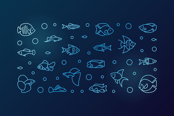 Aquarium fish blue vector horizontal banner in outline style