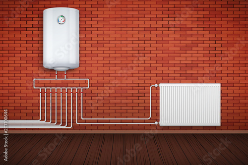 Water heater Boiler on brick wall and Heating radiator in room with ...