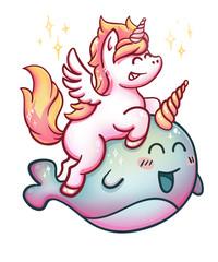 Unicorn rides Narwhal