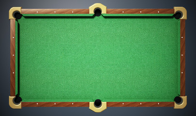 Pool table with green cloth. Top view. 3D illustration