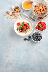 Homemade granola with yogurt and fresh berries, healthy breakfast concept, selective focus, copy space.
