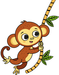 Vector illustration of a cute monkey with outlined version.
