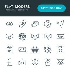 Modern Simple Set of business, money, email Vector outline Icons. Contains such Icons as euro,  finance,  euro,  new, options,  reply,  add and more on white background. Fully Editable. Pixel Perfect