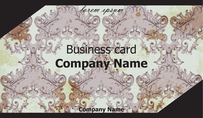 Business card Vector. Classic ornament background vintage decor