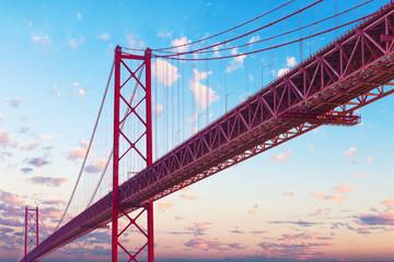Puente 25 de Abril en Lisboa. Puntos de interés y arquitectura en Portugal.Paisaje de puesta de sol