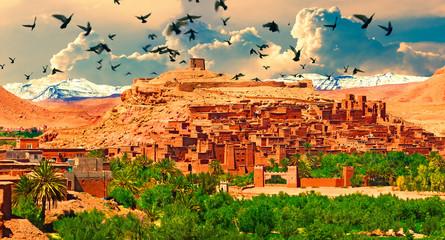 Pueblo de Ouarzazate ,Marrakech.Paisaje pintoresco de Marruecos