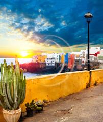 Scenic landscape.Canary island  Seascape.Tenerife village.Sunset scenery Spain sea and island .Beach adventures and travel concept.Puerto de la cruz