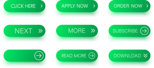 Set of green buttons isolated on white.