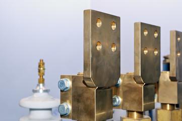 Copper electric busbar close-up.