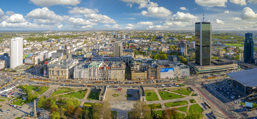 Panorama of Warsaw from a bird's eye view