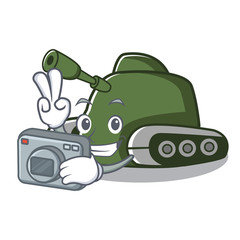 Photographer tank mascot cartoon style