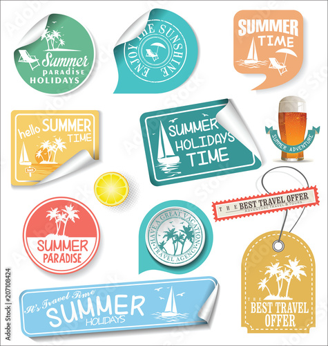 summer design labels and typography design templates stock image