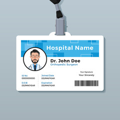 Doctor ID badge. Medical identity card template