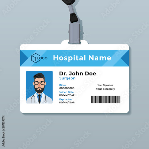 doctor id card template medical identity badge stock image and