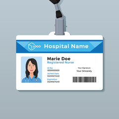 Nurse ID card. Medical identity badge template
