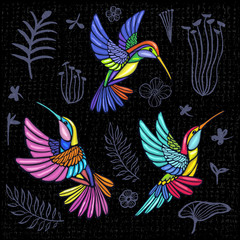 Embroidery Hummingbird, palm tree leaves, flowers tropical art patch. Fashionable embroidery tropical summer background. Template design clothes, t shirt. Hand drawn vector.