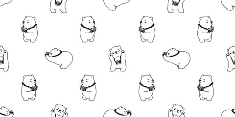 Bear seamless pattern polar bear vector panda isolated camera photographer wallpaper background cartoon white