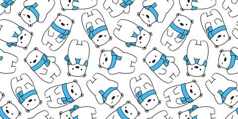 bear seamless pattern polar bear vector panda teddy scarf isolated cartoon background wallpaper