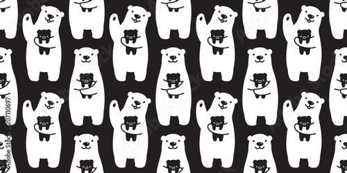Bear Seamless Pattern Polar Bear Vector Panda Teddy Isolated